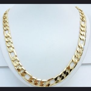 """Mens 10mm 24k gold plated Figaro curb chain 20"""""""